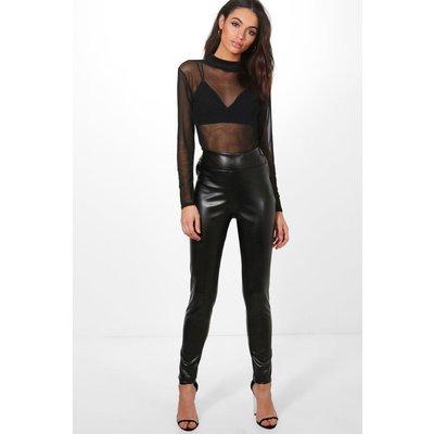 Leather Look Zip Side Trousers - black