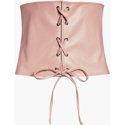 Leather Look Lace Up Corset Belt - blush