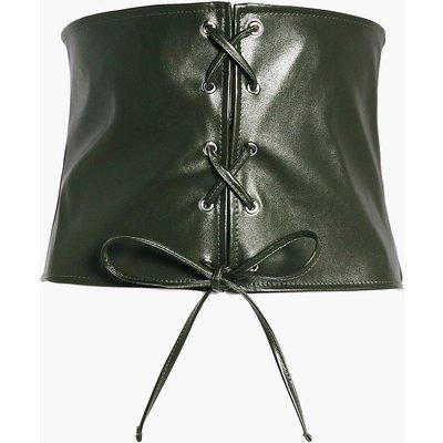 Leather Look Lace Up Corset Belt - khaki