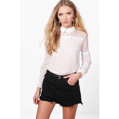 Eyelash Lace Trim Shirt - white