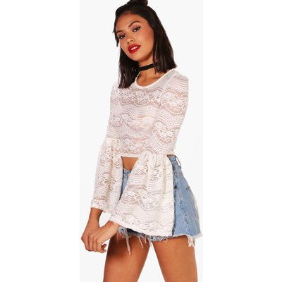 Lace Bell Sleeve Crop - cream