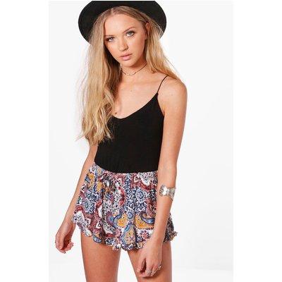 Paisley Ruffle Hem Shorts - multi