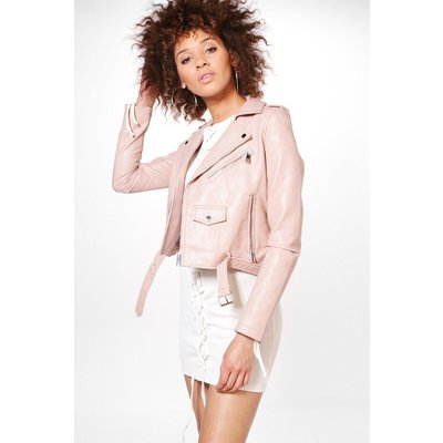 Boutique Belted Faux Leather Biker Jacket - pink
