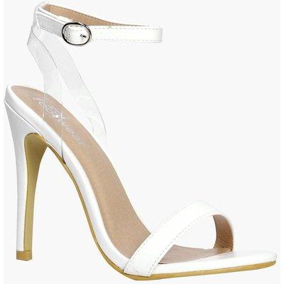 Skinny Strap 2 Part Heels - white