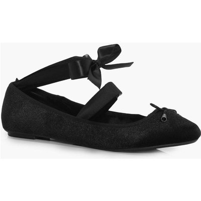 Velvet Ribbon Detail Ballet Pumps - black