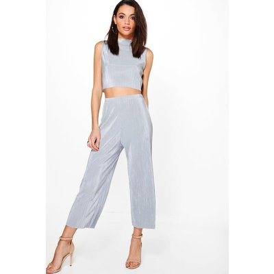 Pleated High Neck Crop & Culotte Co-ord Set - silver