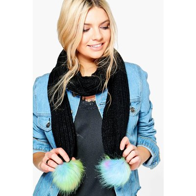 Mermaid Pom Knitted Scarf - black