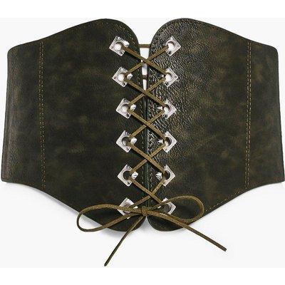 PU Corset Lace Up Belt - khaki