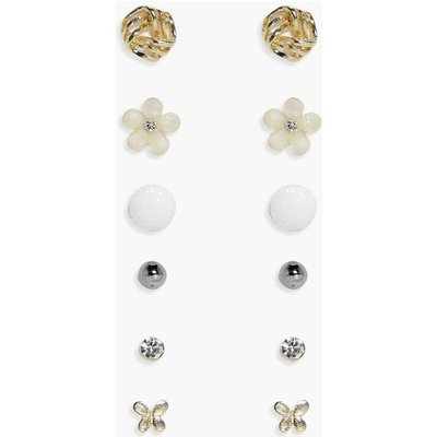 Bee & Flower Stud 6 Earring Set - multi