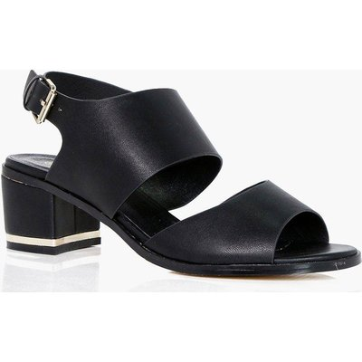 Widefit Cut Out Block Heel Sandal - black