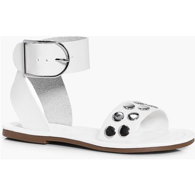 Studded Cuff Detail Sandal - white