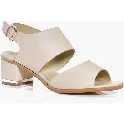 Wide Fit Cut Out Block Heel Sandal - nude