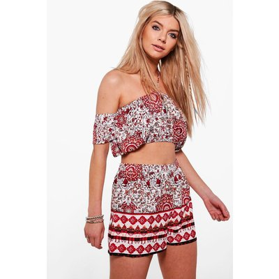 Woven Print Bandeau & Short Co-Ord Set - multi