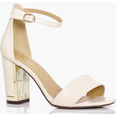 Wide Fit Gold Plated Block Two Part Heels - nude