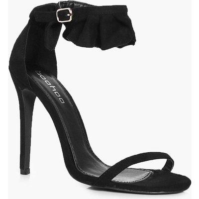 Frill Cuff Two Part Sandal - black