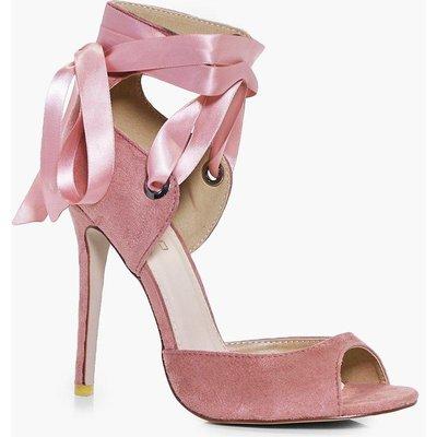 Lace Up Peeptoe Sandal - blush