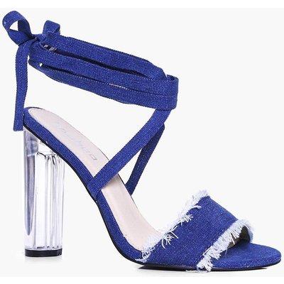 Denim Wrap Strap Clear Heels - denim