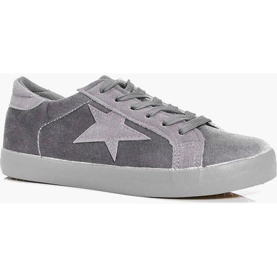 Velvet Star Lace Up Trainer - grey