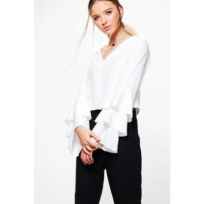 Frill Sleeve Woven Top - ivory