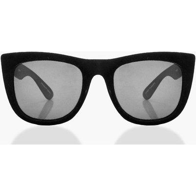 Velvet Frame Wayfarer Sunglasses - black