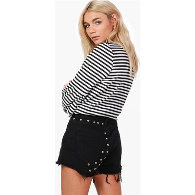High Rise Stud Mom Denim Shorts - black