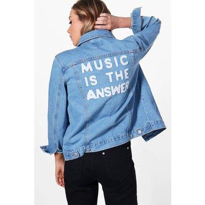 Oversize Slogan Back Denim Jacket - blue