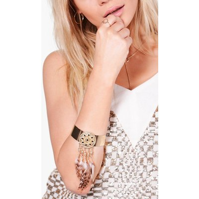 Feather Embellished Arm Cuff - gold