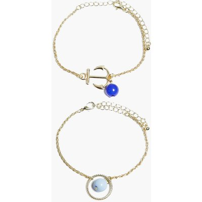 Anchor Pendant Fine Bracelet Pack - gold