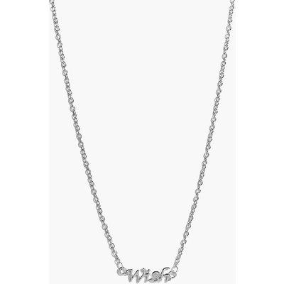 Wish Slogan Necklace - silver