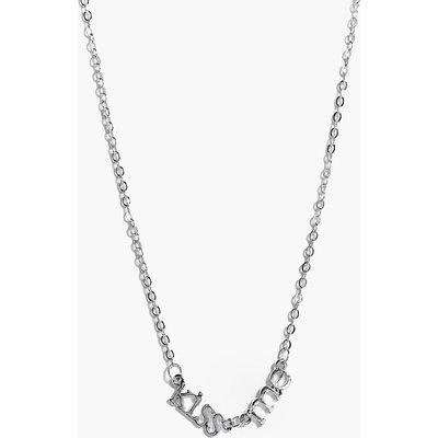 Kiss Me Slogan Necklace - silver