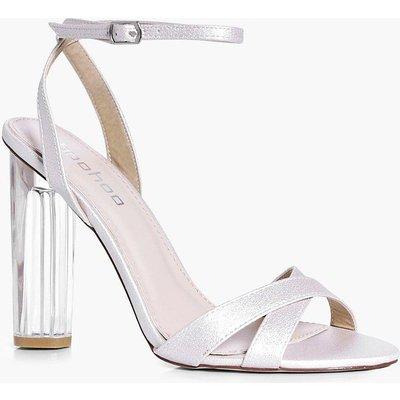 Bridal Cross Front Clear Heel Sandal - cream