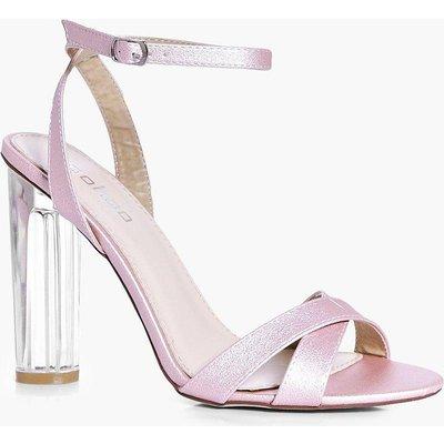 Bridal Cross Front Clear Heel Sandal - pink