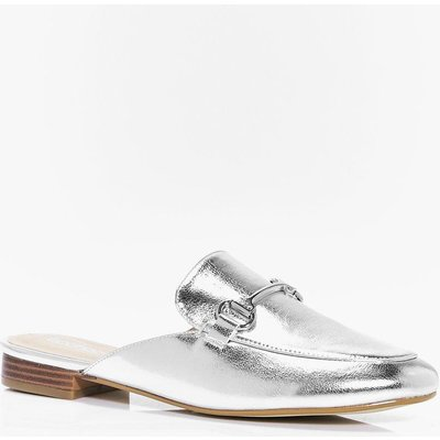 T Bar Mule Loafer - silver