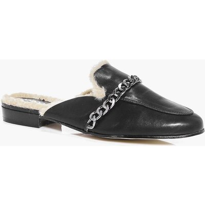 Faux Fur Lined Mule Loafer - black