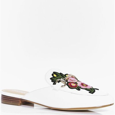 Floral Embroidered Mule Loafer - white