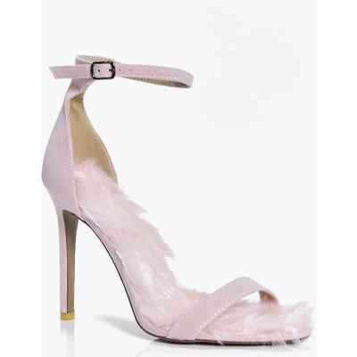 Faux Fur Lined Two Part Heels - pink