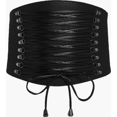 Statement Lace Up Corset Belt - black
