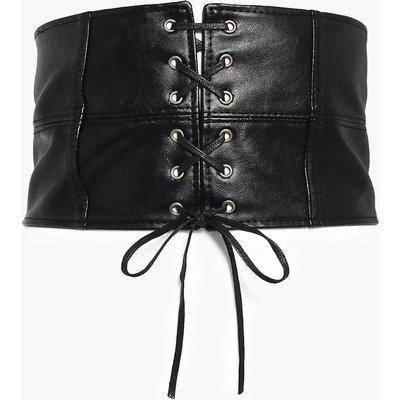 Lace Up Panelled Corset Belt - black