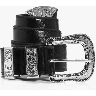 Oversize Western Buckle Waist Belt - black