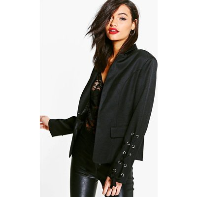 Lace Up Sleeve Woven Lined Blazer - black