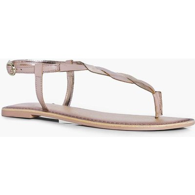 Twisted Thong Leather Sandal - nude