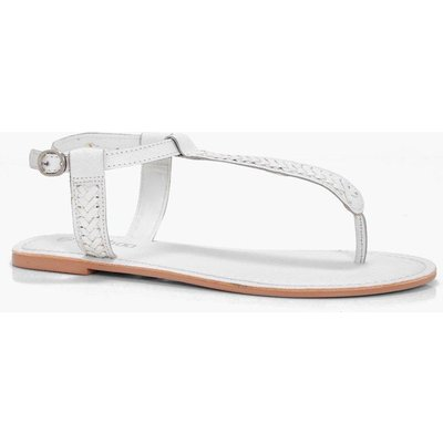 Thong Leather Sandal - white