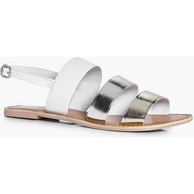 Multi Coloured Leather Flat - gold