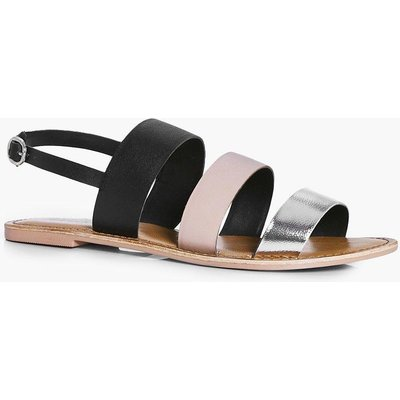 Multi Coloured Leather Flat - silver