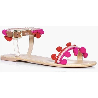 Pom Trim Two Part Flat Sandal - nude