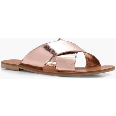 Cross Strap Leather Slider - rose gold