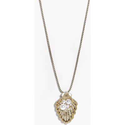 Shell & Pearl Charm Necklace - gold