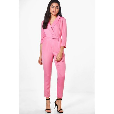 Premium Satin Tailored Jumpsuit - pink