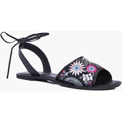 Embroidered Ankle Wrap Strap Flat - black