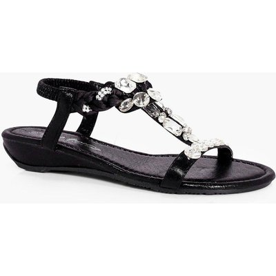Embellished T Bar Sandal - black